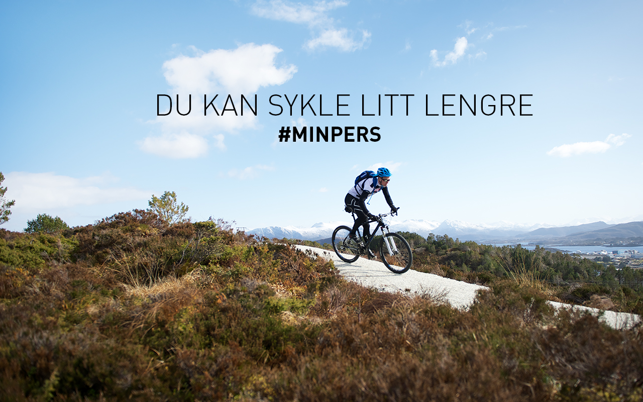 Intersport banner, syklist