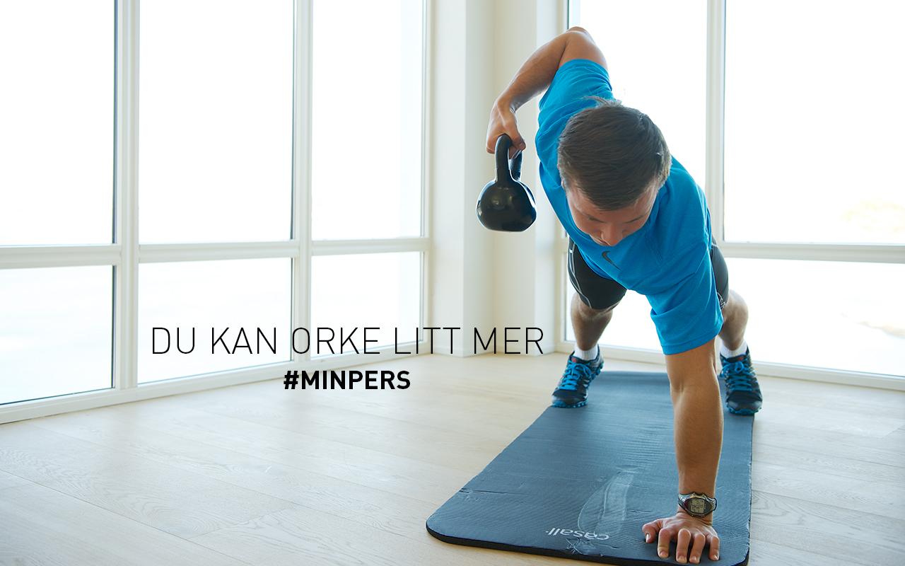 Intersport banner, mann som trener med vekter