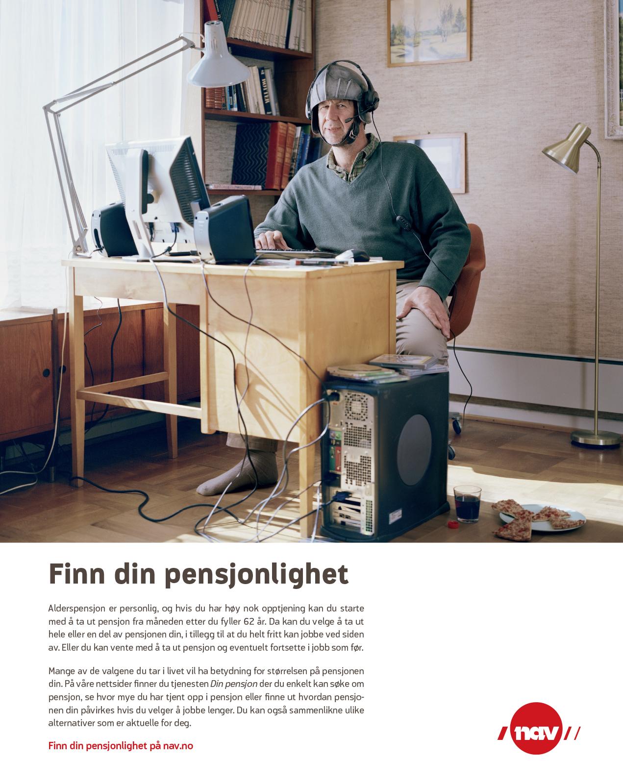 NAV-annonse med gammel mann som dataspiller. Budskap: Finn din pensjonlighet