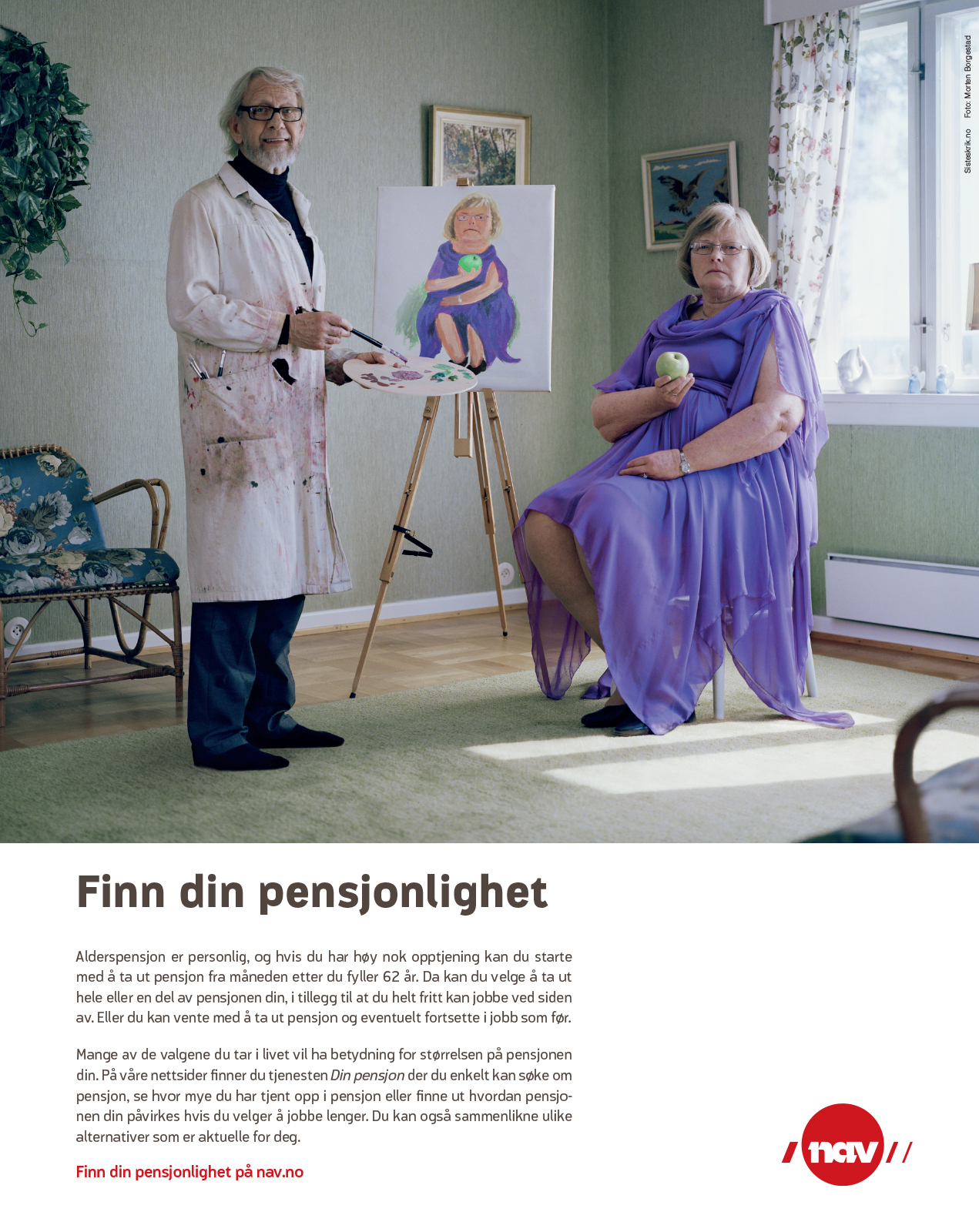 NAV-annonse med gammel mann som kunstmaler. Budskap: Finn din pensjonlighet