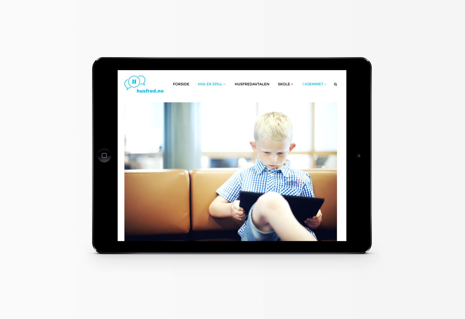 iPad-visning av artikkelside husfred.no